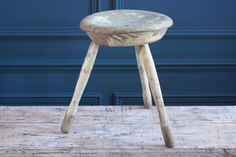 Round Faded Green Painted Handmade Wooden Stool
