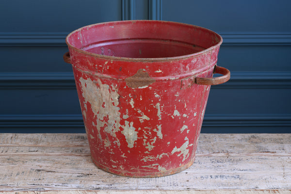 Portuguese Red Galvanised Metal Bucket