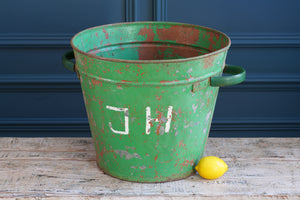 Portuguese Green Galvanised Metal Bucket