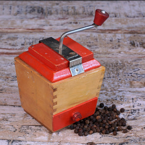 Mini Red Wooden Coffee Moulin