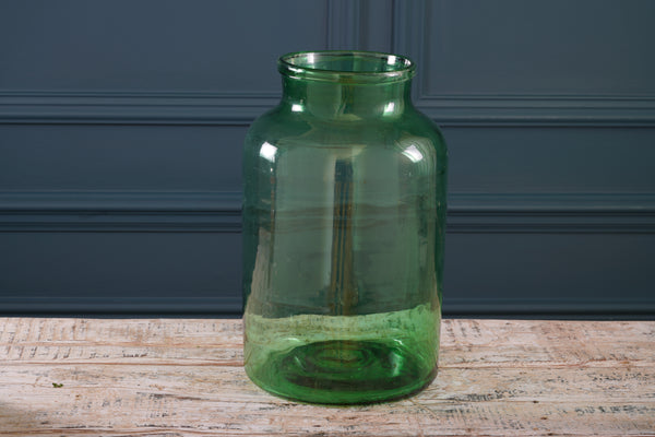Pale Green Wide Necked Handmade Glass Vase
