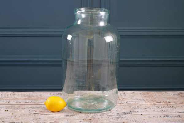 Clear Wide Necked Glass Vase
