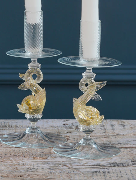 Pair of Mid-Century Clear and Gold Leaf Murano Glass Koi Carp Candle Sticks
