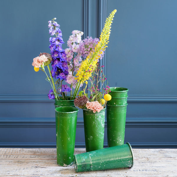 Bright Green Metal Florists Bucket