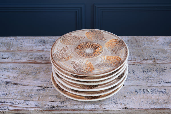 Six 1970's Sarreguemines Cream and Tan Oyster Plates