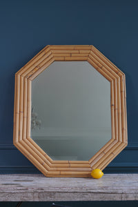 Mid-Century Pale Bamboo Octagonal Mirror
