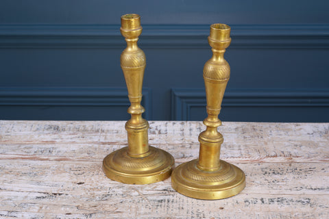 Pair of Round Brass Candlesticks