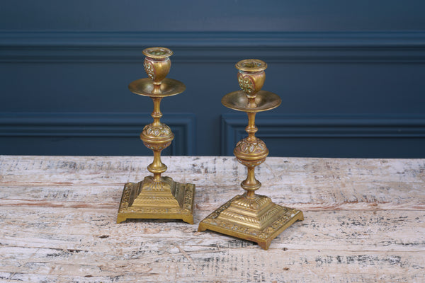 Pair of Square Brass Candlesticks