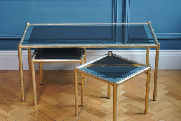 Maison Baguès Style Bamboo Brass and Smoked Glass Trio of Tables