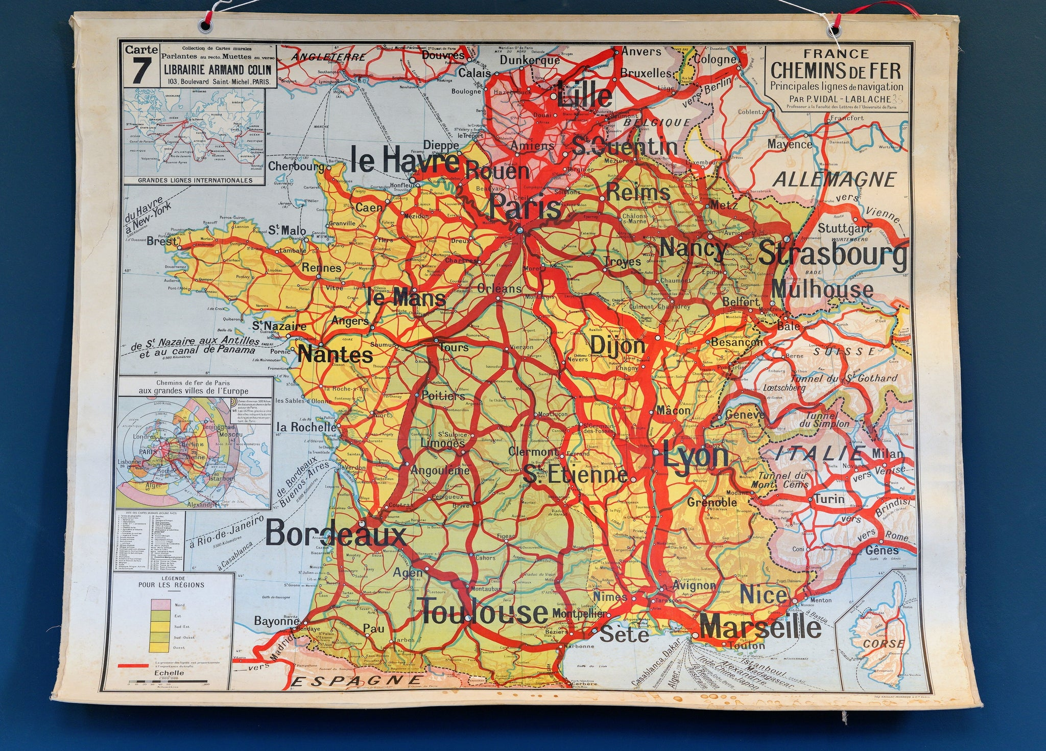 Carpentras France Map.French Double Sided School Railways Map Of France Vitrine3