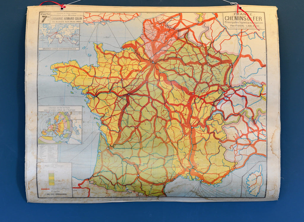 French Double Sided School Railways Map Of France Vitrine3
