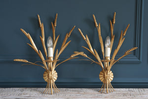 Pair of Mid- Century Brass Wheatsheaf Sconces
