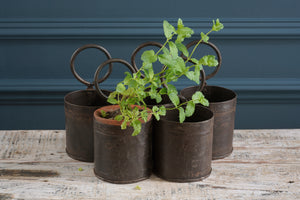 Small Single Metal Buckets with Hoop Handles