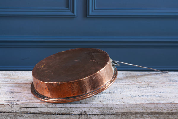 Large Copper Fry Pan with Cast Iron Handle