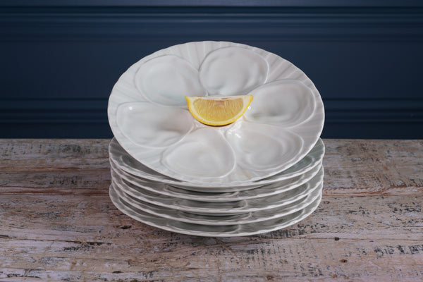 Six 1970's Pillivuyt White Oyster Plates