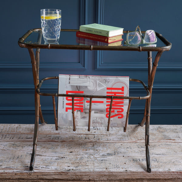 Delicate Black Burnished Copper Side Table with Magazine Rack