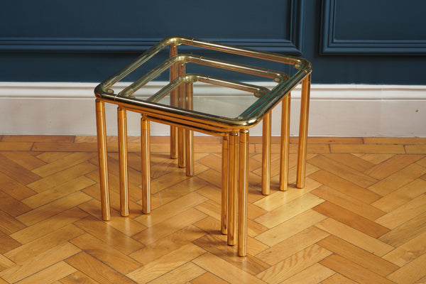 Nest of Three Chunky Brass Tables