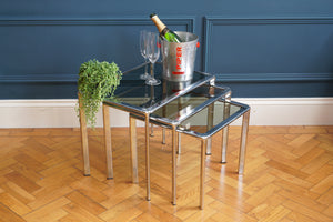 Nest of Three Chrome Side Tables