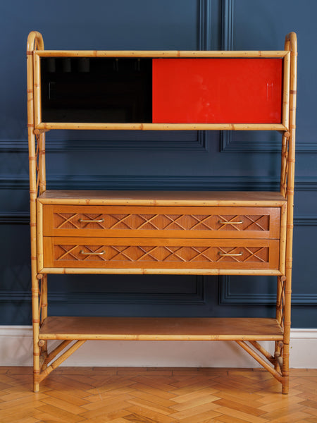 1970's Bamboo and Red and Black Glass Side Cabinet
