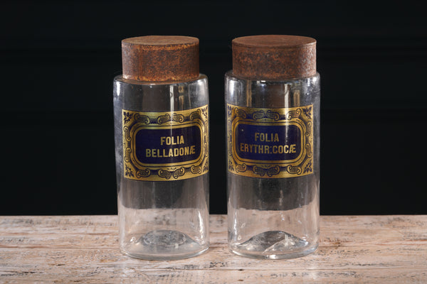 Pair of Italian Glass Apothecary Jars with Metal Lids