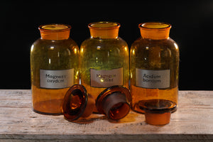 Trio of Ukrainian Bronze Glass Apothecary Jars