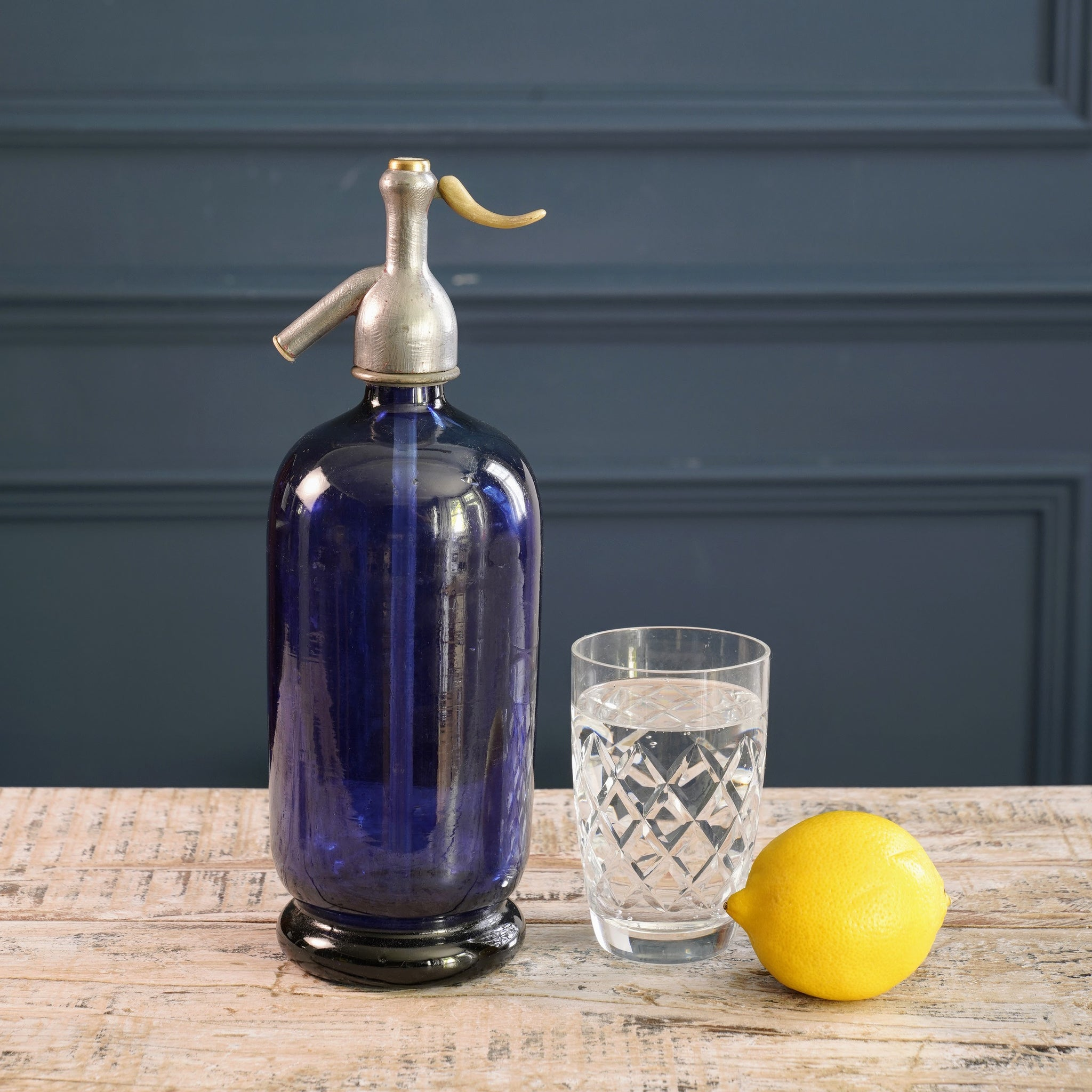 Midnight Blue Glass Soda Siphon