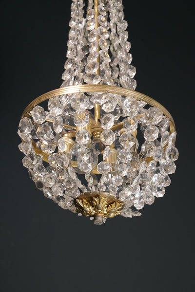 Early 20th Century Glass and Brass Balloon Chandelier