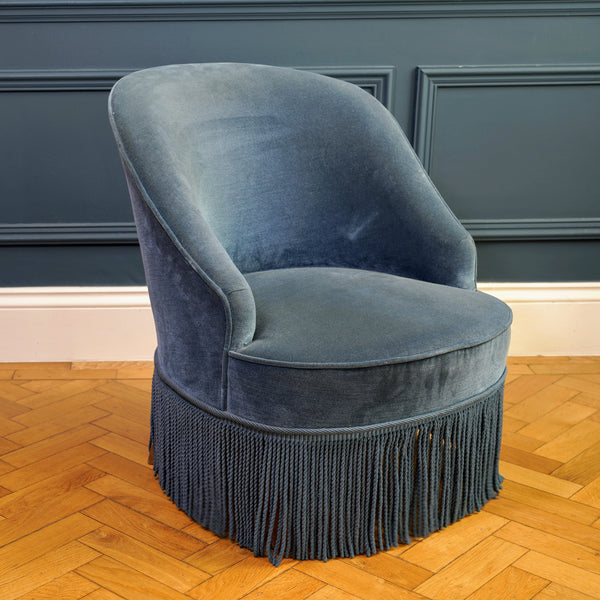 Peacock Blue Velour Fringed Crapaud Chair