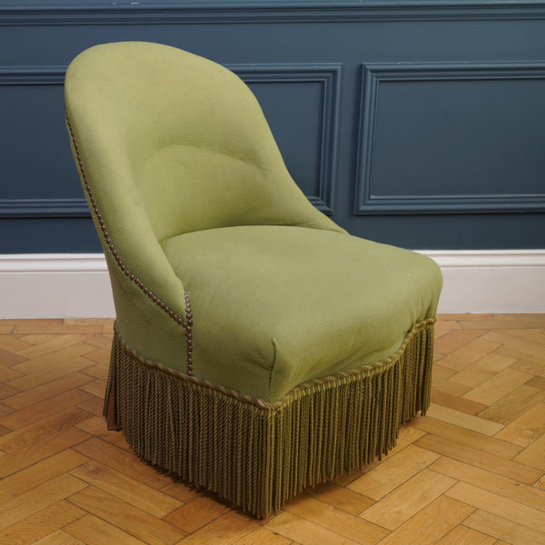 Pistachio Green Cotton Mix Fringed Crapaud Chair
