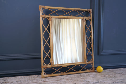 1970's Rectangular Bamboo Mirror