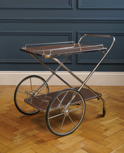 Chrome and Wood Veneer Bar Cart