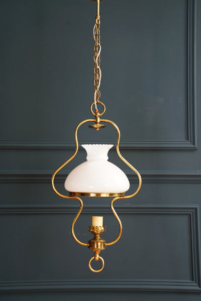 Glass and Brass Kitchen Ceiling Light
