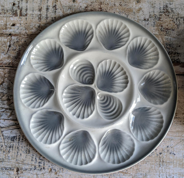 Set of Six Grey and White Belgian Oyster Plates