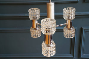 Art Deco Chrome and Textured Glass Up & Down Ceiling Light