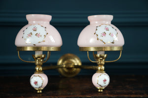 1930's Pink and Gold Double Shade Sconce