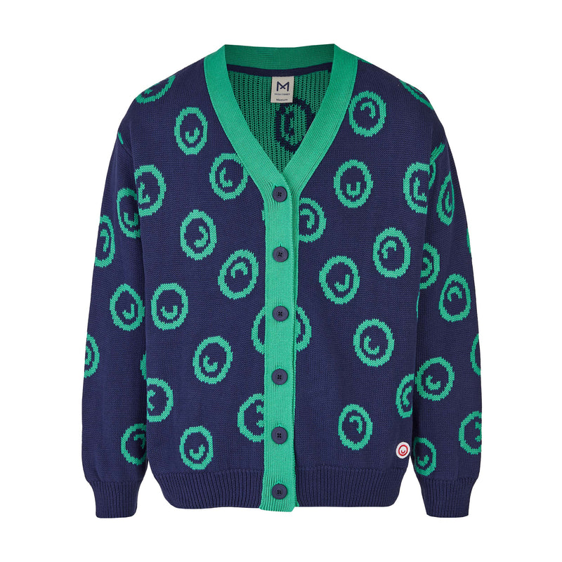 Grown-ups Thick Smiley Cardigan (Organic Cotton) Blue/Mint -Manitober-nachhaltige-Kinderbekleidung-Bio-Baumwolle