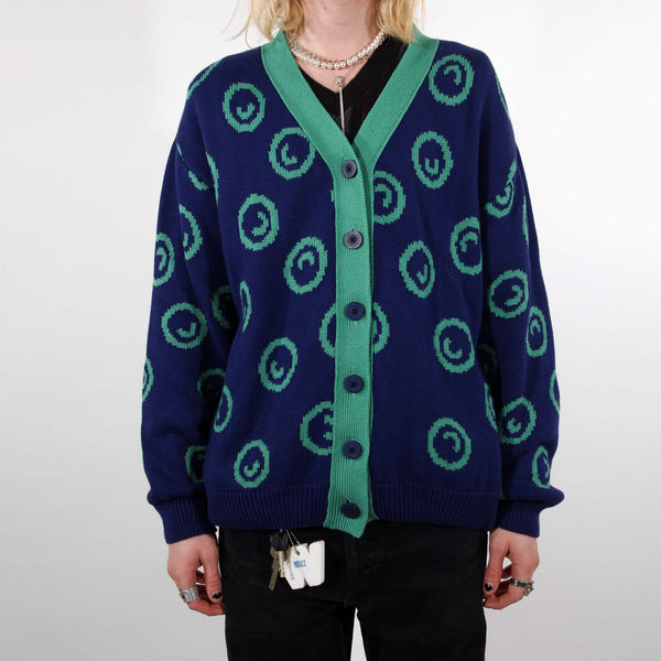 Grown-ups Thick Smiley Cardigan (Organic Cotton) Blue/Mint - Manitober