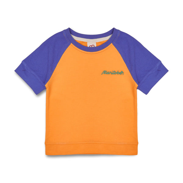Manitober Kinder Kurzärmliger Sweater Bio-Baumwolle orange