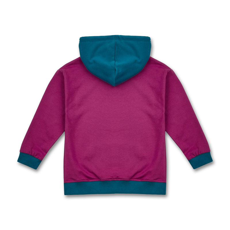 Manitober Kinder Oversized Hoodie Sweater Bio-Baumwolle berry hinten