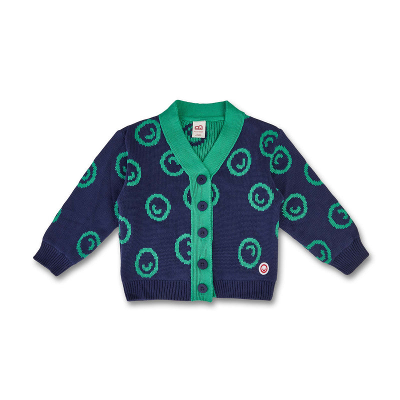 Kids Thick Smiley Cardigan (Organic Cotton) Blue/Mint -Manitober-nachhaltige-Kinderbekleidung-Bio-Baumwolle
