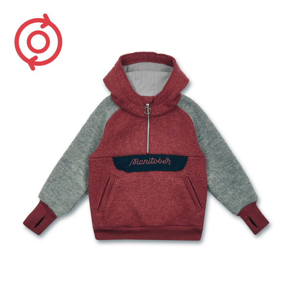 *Refurbished* Kids boiled wool Hooded Zipper (organic wool) -Manitober-nachhaltige-Kinderbekleidung-Bio-Baumwolle
