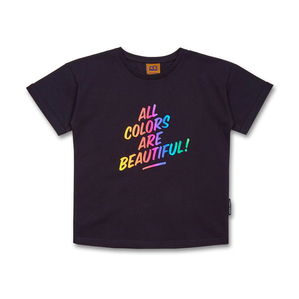 Kinder T-Shirt Bio-Baumwolle all colors are beautiful schwarz vorne