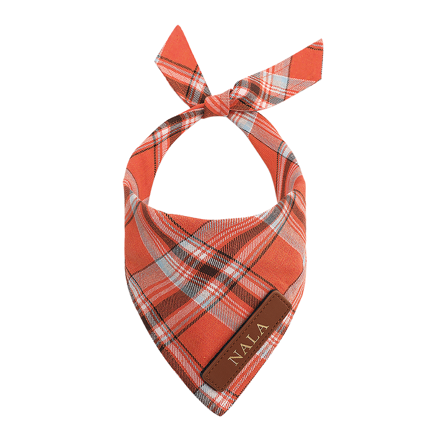 Orange Plaid Dog Bandana