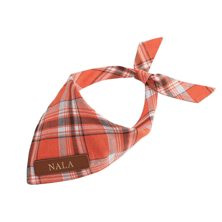 Orange Plaid Cat Bandana