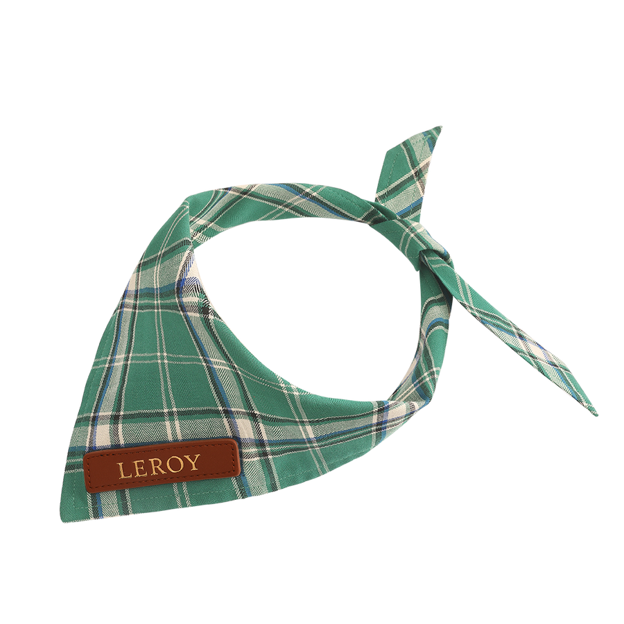 Green Plaid Cat Bandana