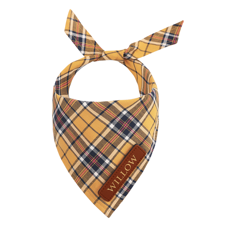 Yellow Plaid Cat Bandana