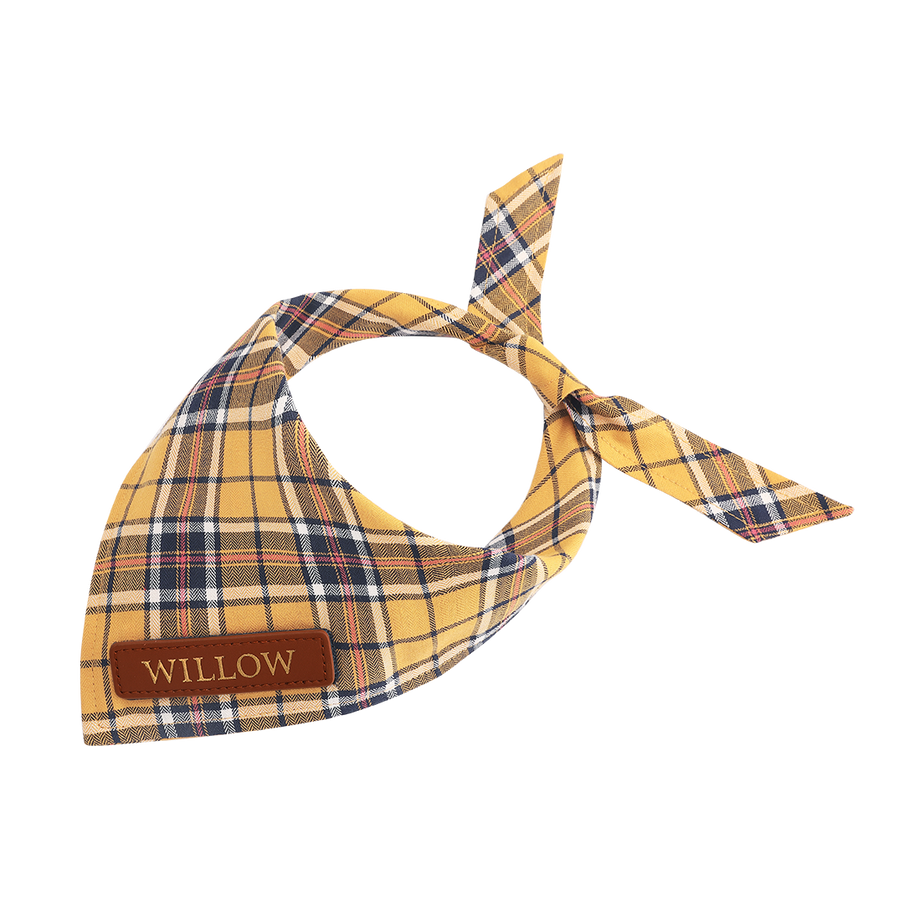 Yellow Plaid Dog Bandana
