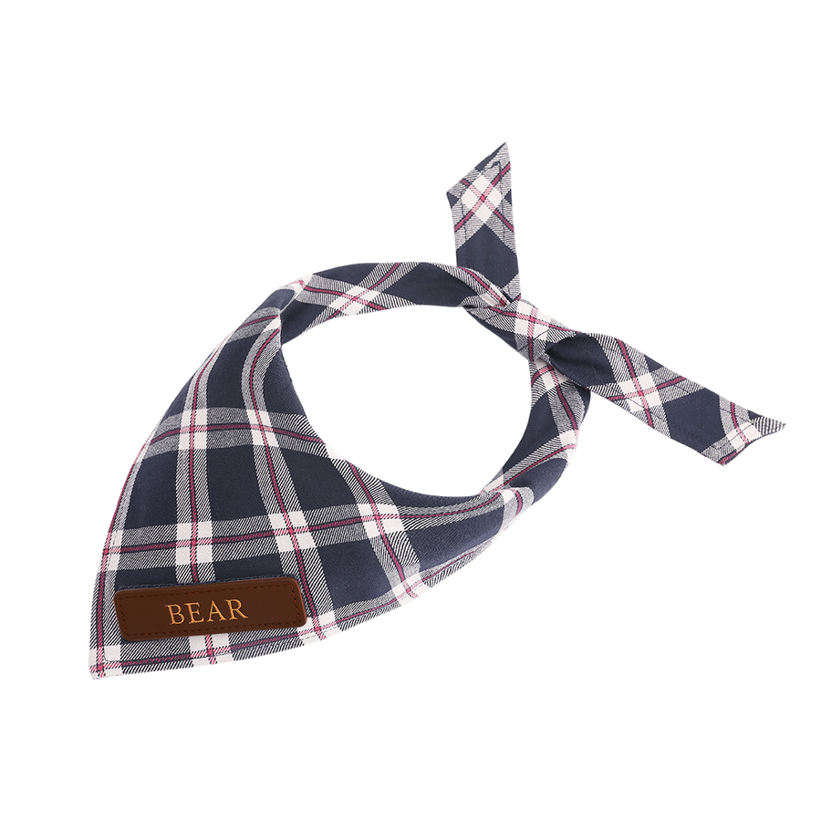 Navy Plaid Cat Bandana