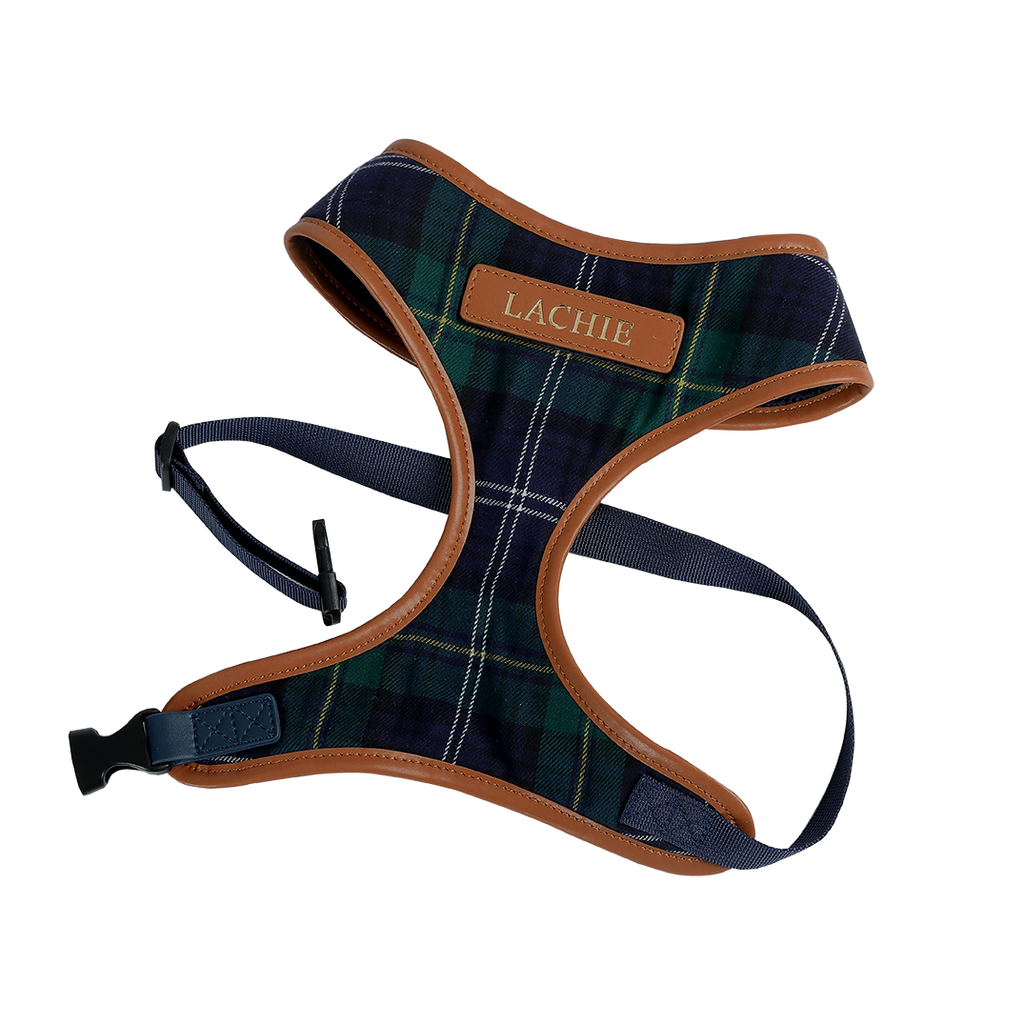 Navy & Green Tartan Fabric Dog Harness