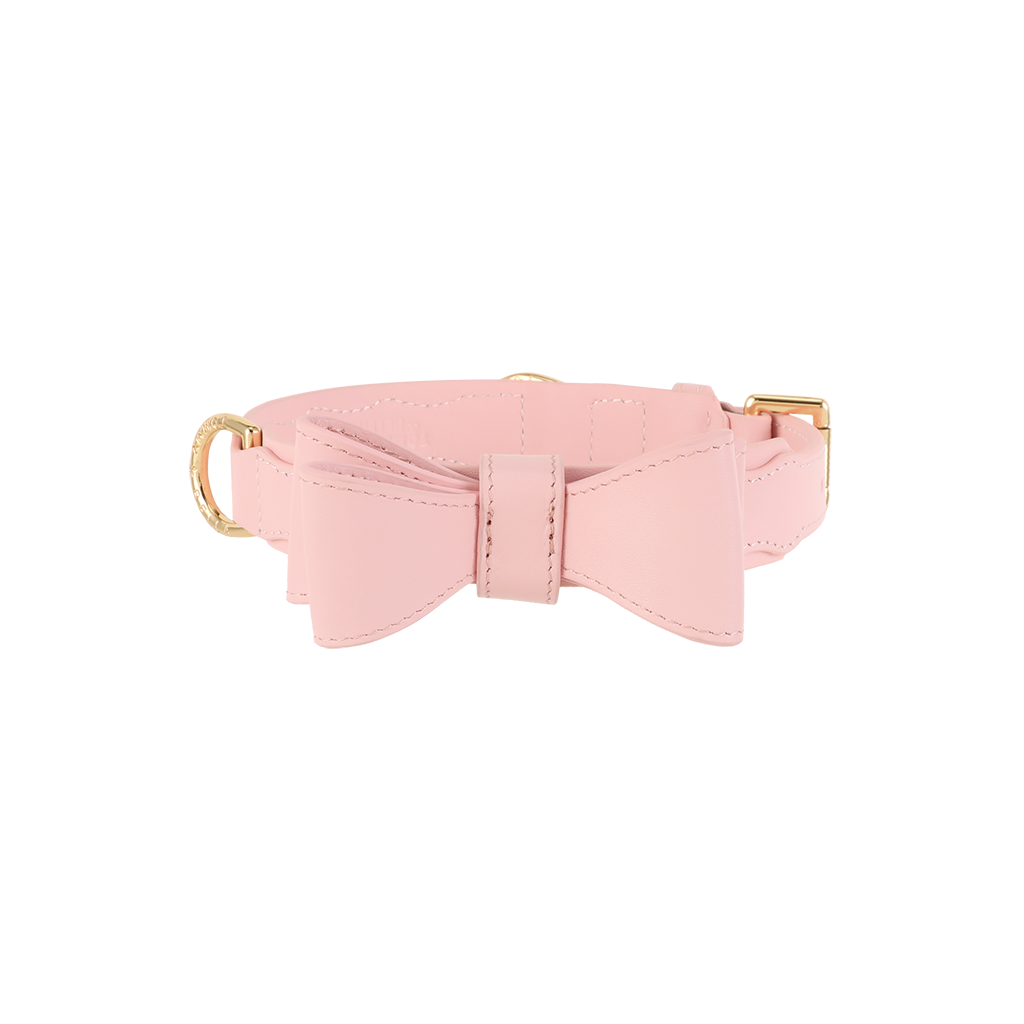 Pink Leather Dog Bow Tie